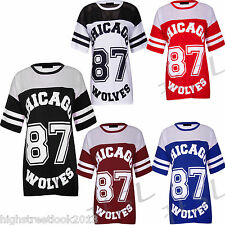 Ladies Womens Varsity Chicago 87 Wolves Print Oversized Jersey Tee Top Tshirt814