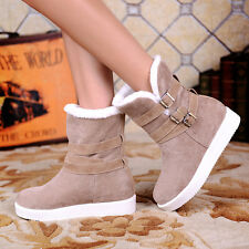 Hot Sale Womens comfort flats Warm faux fur buckle decor Ankle Winter boots New