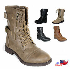 Womens Lace Up Boot tango Combat Fashion Boots Faux Leather Size 5~10