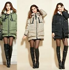 New Collection Womens Down Coat Slim Puffer Parka Hooded Long Jacket With Belt