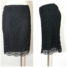 V CHRISTINA LADIES BLACK CROCHET SOUTACHE BOHO LINED SKIRT STEIN MART ORIG. $148