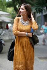 NEW ZARA 2014 CARAMEL LONG MAXI EMBROIDERED LACE DRESS ALL SIZES