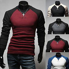 █ Mens Slim Fit Long Sleeve Tee Pullover Hoodies T-Shirt Sweatshirt Jackets Tops