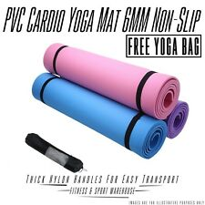 6mm PVC Yoga Cardio Mat Gym Non Slip Pilates Physio Fitness Gym with Carry Bag