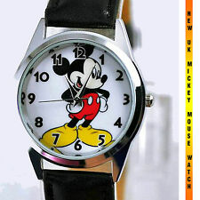 DISNEY MICKEY MOUSE WATCH NEW Stainless Steel LEATHER ROUND FILM WATCH MICKY  UK