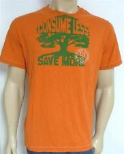 American Eagle Outfitters AEO Consume Less Save More Mens Orange T-Shirt New NWT