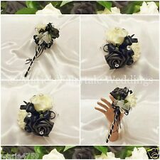 WEDDING FLOWERS, FLOWER GIRL BRIDESMAID WAND SILK FOAM ROSES BLACK +OTHER COLOUR