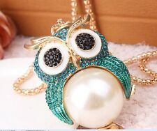 New,Blue/champagne New fashion opal long necklace owl necklace #N7