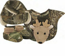 Boys Infant Realtree Camo Gift Set Hat Bib Booties Baby Deer