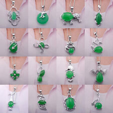 imperial green jade stone pendant chain 18KGP necklace teapot mermaid swan 1pc