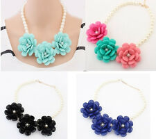 Faux Pearl Chain Resin Beads Rose Flower Rhinestone Bib Statement Crew Necklace