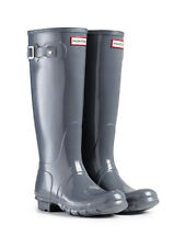 HUNTER ORIGINAL TALL GLOSS GRAPHITE RAIN BOOTS WOMEN W23616