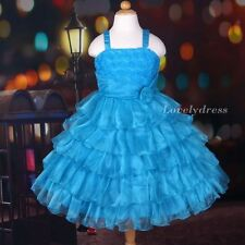 NEW Flower Girl Wedding Pageant Party Bridesmaid Dress Wear Set Blue SZ 5-9 Q535