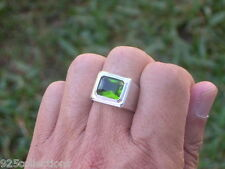 11X9 mm August Green Peridot CZ Birthstone Men Solitaire Rhodium Ring Size 7-13
