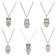 Antique Silver Pld Retro Black Big Eyes Multi-Color Hollow Owl Pendant Necklace