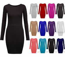 Womens Ladies Long Sleeve Plus Size Bodycon Dress Jersey T Shirt Casual Top 8-20