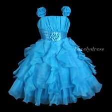 NEW Flower Girl Wedding Pageant Party Bridesmaid Dress Wear Set Blue SZ 4-9 Q585