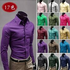 New Fashion Luxury Men's Slim Fit Long Sleeve Casual Dress Shirts 17-Colors