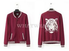Free Shipping Womens Tiger Head Back Baseball Uniform Jacket Outwears HUS