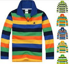 New Fashion Boys Long Sleeve Polo Shirt Stripe  T-Shirt size: 2-7years YF073