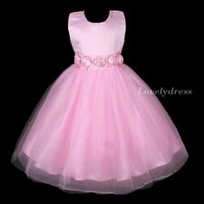 NEW Flower Girl Wedding Pageant Party Bridesmaid Dress Wear Set Pink SZ 4-9 Q485
