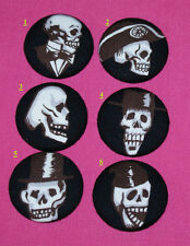 FUNKY SKULLS FABRIC COVERED BUTTONS available in 40mm size 6 pics to choose from