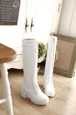 2014 Winter Sweety Women's block round toe plate form lace up High leg boots