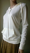 womens thin hoody ROXY ivory cotton jersey hooded top size M