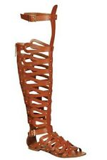NEW -  KNEE HIGH WOMENS FAUX LEATHER TAN STRAPPY GLADIATOR SANDALS 5.5 - SALE