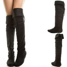 Blk Suede Slouch Rear Lace Up Fold-Over Over Knee Thigh Flat Womens Comfort Boot