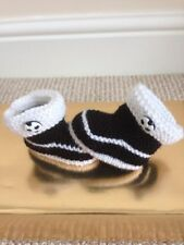 Football Hand knitted Baby Booties shoes boots Newcastle Notts CountyBlack White