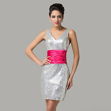 CHEAP Womens Sexy Sequins Wedding Gowns Prom Cocktail Party Evening Short Dress