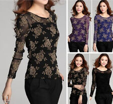 UK Size 6 8 10 12 14 Women's Sexy Long Sleeve Lace Floral Tops Shirt Blouse HOT