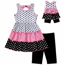 """Dollie & Me girl Sz 5-14 and 18"""" doll matching outfit dress fit american girl"""