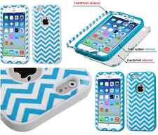 """iPhone 6 6S 4.7"""" Chevron Wave Hard Soft Rubber Impact Armor Hybrid Case Cover"""