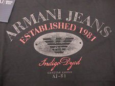 ARMANI JEANS GRAPHIC INDIGO DYED BLACK T-SHIRT SIZES S - XL STYLE VMH82