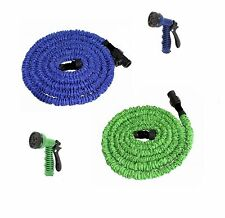Flexible Latex 25 50 75 100 150 Feet Expanding Garden Water Hose w/ Spray Nozzle