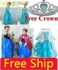 Girls Kid Dresses Disney Princess Frozen Elsa&Anna Dress Party Cosplay Costume