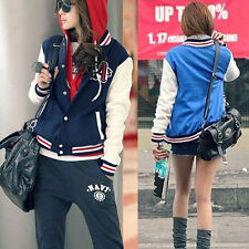Womens Fashion Baseball Uniforms Stand Collar Loose Long-sleeved Jacket @#HC@-US
