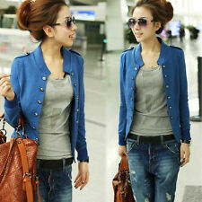 Lady Military Long Sleeve Collar Epaulet Double Breasted Short Coat Jacket