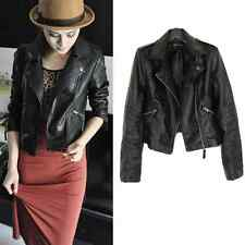 Vintage Women Black Slim Biker Motorcycle Soft Leather Zipper Jacket Coat Short