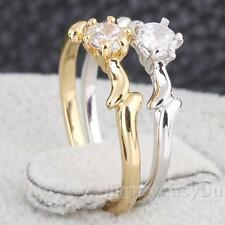 R6H1 Woman Man 16/17/18/19MM Love Wedding Ring Copper 18K Gold/White Gold Filled