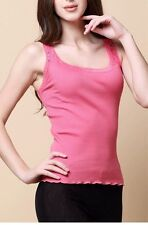 70% Silk 30% Cotton Lace Ribbed Stretchy Seamless Tank Top One Size