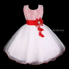 NEW Flower Girl Wedding Pageant Party Bridesmaid Dress Wears Set Red SZ 4-9 Q556