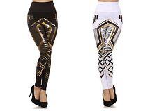 New! High Waist Gold Foil Aztec Print Stretch Fitted Tights/Legging Pants