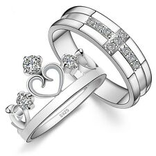 925 Sterling Silver Couple Rings Full Crystal His And Hers Wedding Rings set