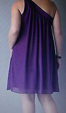 LANE BRYANT ONE SHOULDER CHIFFON DRESS - PURPLE OR RED - 14,16,18,20,22,24,26,28