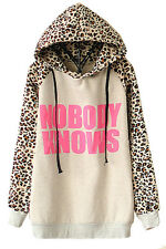 New Fashion Women NOBODY KNOWS Print Hooded Leopard Casual Sweatshirt Hoodies