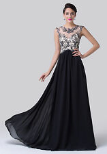 Long Maxi Chiffon Ball Gown Bridesmaids Formal Evening Prom Party Dresses Black