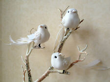 SMALL WHITE GLITTER FEATHER BIRD DECORATION CLIP PEG WEDDING EASTER ACCESSORY